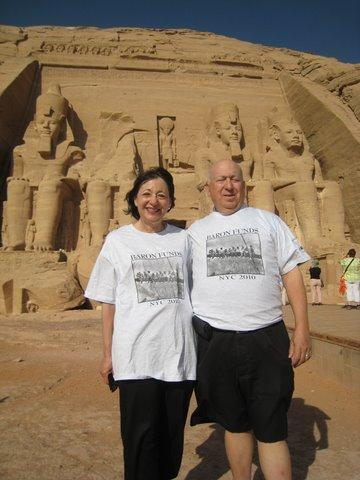 Two people wearing Baron t-shirts in Abu Simbel, Egypt. Activating element opens larger version of image.