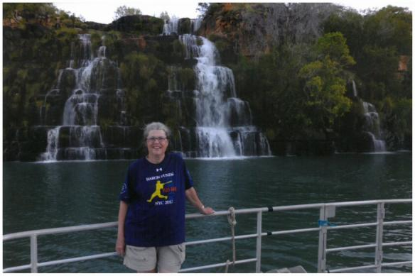Woman wearing Baron t-shirt in Australia. Activating element opens larger version of image.