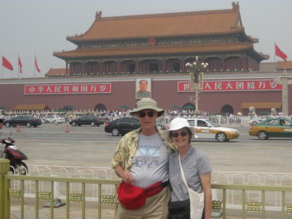 Two people wearing Baron t-shirts in China. Activating element opens larger version of image.