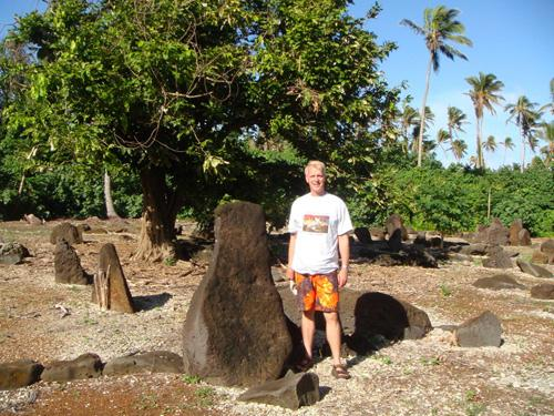 Man wearing Baron t-shirt in Cook Islands, Oceania. Activating element opens larger version of image.