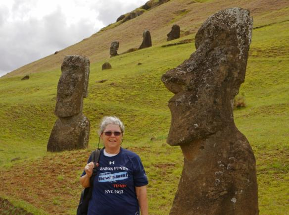 Woman wearing Baron t-shirt on Easter Island. Activating element opens larger version of image.