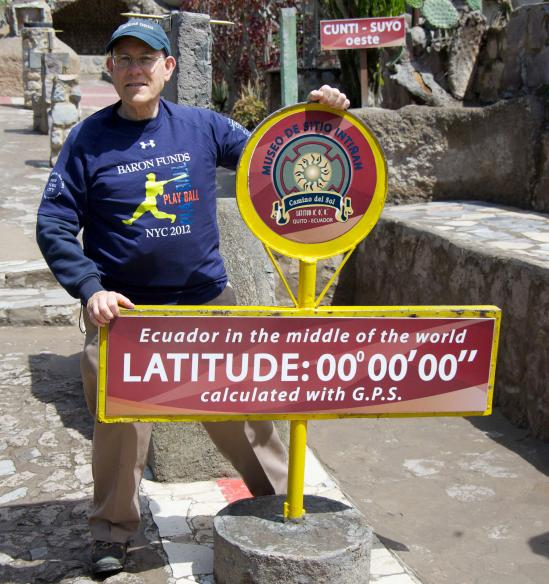 Man wearing Baron t-shirt in Ecuador. Activating element opens larger version of image.