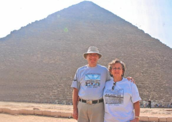 Two people wearing Baron t-shirts in Egypt. Activating element opens larger version of image.