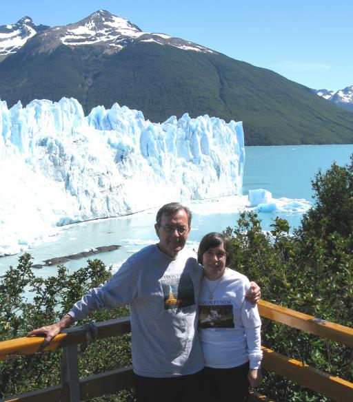 Two people wearing Baron t-shirts in El Calafate, Argentina. Activating element opens larger version of image.