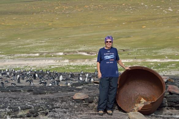 Person wearing Baron t-shirt in the Falkland Islands. Activating element opens larger version of image.