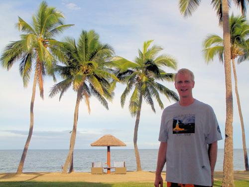 Man wearing Baron t-shirt in Fiji. Activating element opens larger version of image.