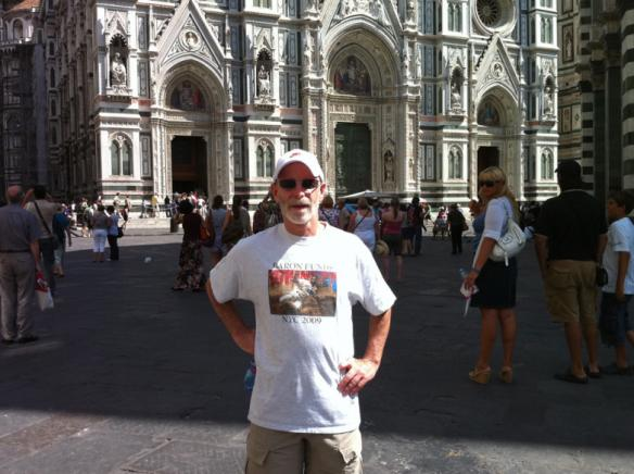 Man wearing Baron t-shirt in Florence, Italy. Activating element opens larger version of image.