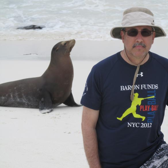 Man wearing Baron t-shirt in the Galapagos Islands, Ecuador. Activating element opens larger version of image.