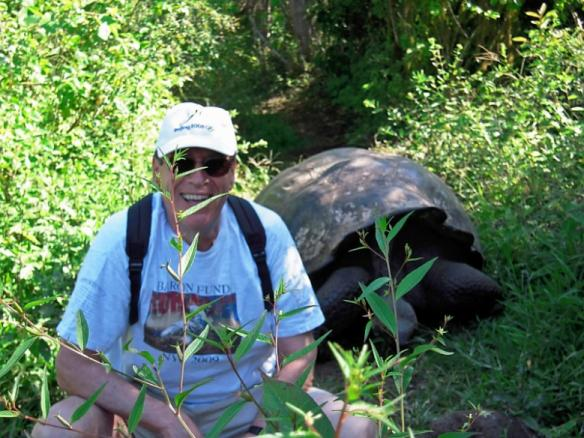 Man wearing Baron t-shirt in the Galapagos Islands. Activating element opens larger version of image.