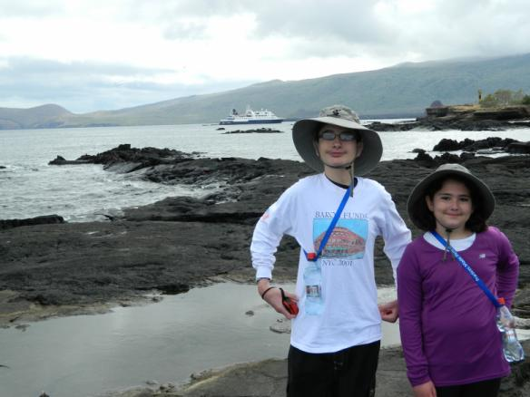 Person wearing Baron t-shirt in the Galapagos Islands. Activating element opens larger version of image.