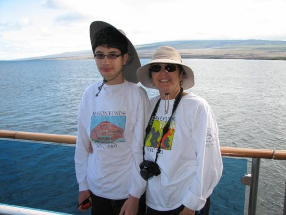 Two people wearing Baron t-shirts in Galapagos Islands, Ecuador. Activating element opens larger version of image.