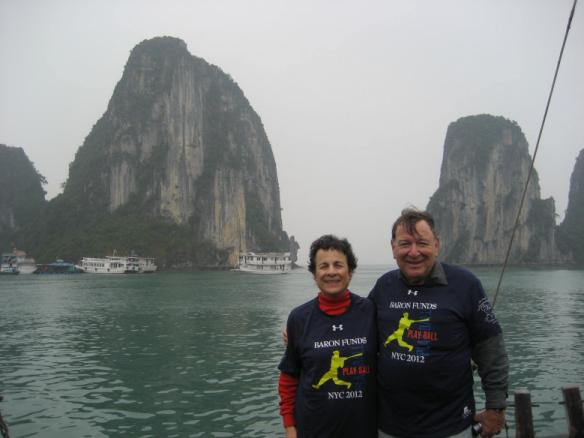 Two people wearing Baron t-shirts in Halong Bay, Vietnam. Activating element opens larger version of image.