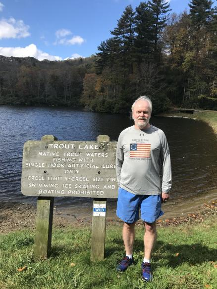 Man wearing Baron t-shirt at Trout Lake, Pennsylvania. Activating element opens larger version of image.