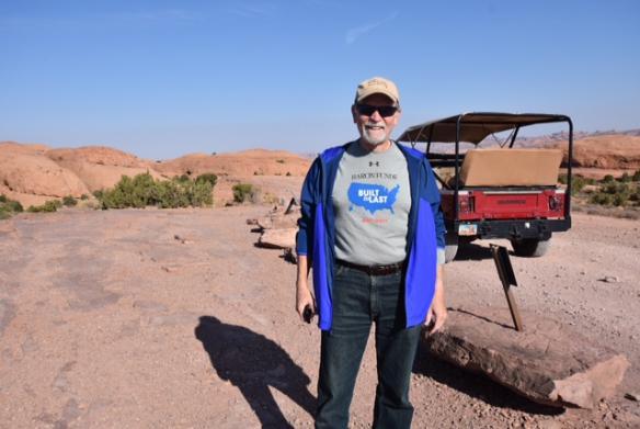 Man wearing Baron t-shirt in Moab, Utah. Activating element opens larger version of image.
