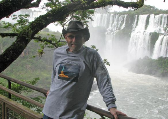 Man wearing Baron t-shirt at Iguazu Falls, Brazil. Activating element opens larger version of image.