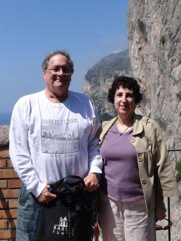 Two people wearing Baron t-shirts in Isle of Capri, Italy. Activating element opens larger version of image.