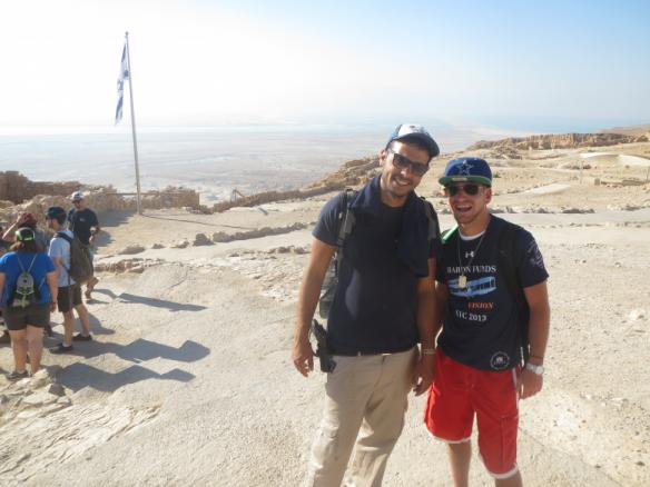 Man wearing Baron t-shirt in Israel. Activating element opens larger version of image.