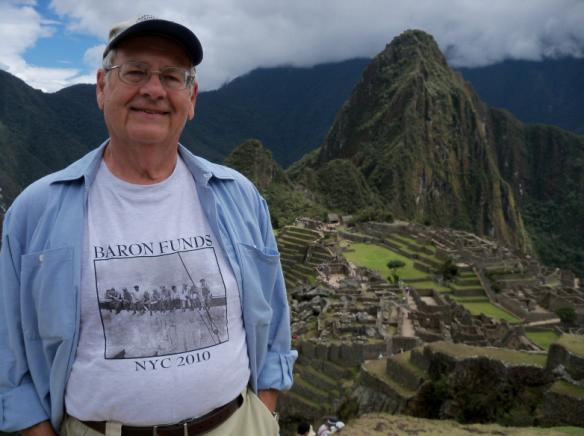 Man wearing Baron t-shirt in Machu Picchu, Peru. Activating element opens larger version of image.