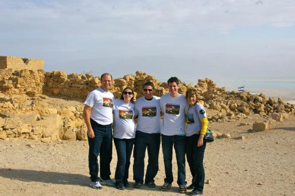 Five people wearing Baron t-shirts in Masada, Israel. Activating element opens larger version of image.