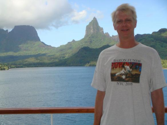 Man wearing Baron t-shirt in Mo'orea, Oceania. Activating element opens larger version of image.