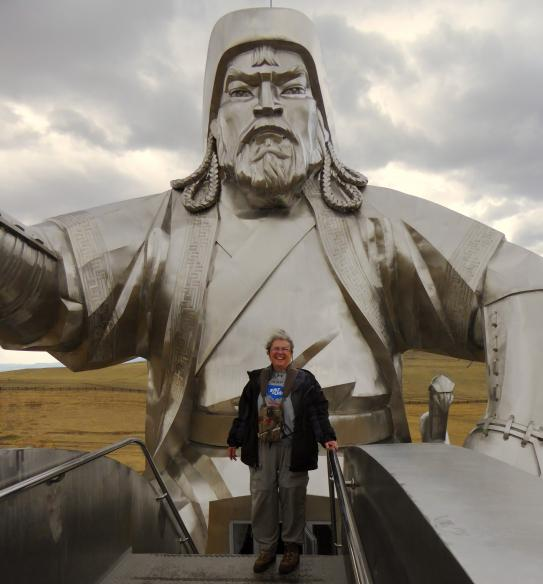 Woman wearing Baron t-shirt in Mongolia. Activating element opens larger version of image.