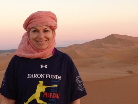 Woman wearing Baron t-shirt in Morocco. Activating element opens larger version of image.