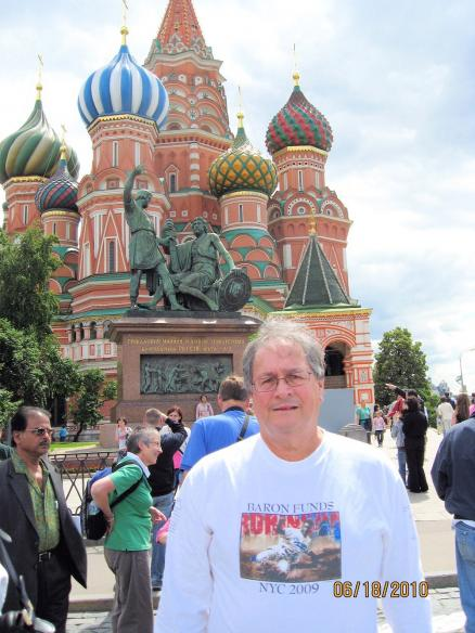 Man wearing Baron t-shirt in Moscow, Russia. Activating element opens larger version of image.
