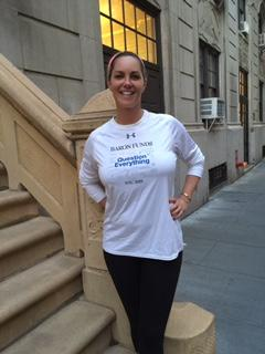 Woman wearing Baron t-shirt in New York, New York. Activating element opens larger version of image.