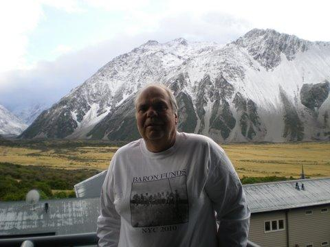 Man wearing Baron t-shirt in New Zealand. Activating element opens larger version of image.