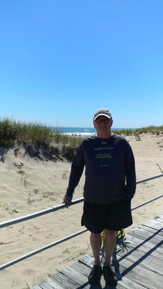 Man wearing Baron t-shirt in Ocean Grove, New Jersey. Activating element opens larger version of image.