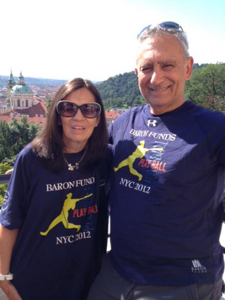 Two people wearing Baron t-shirts in Prague. Activating element opens larger version of image.