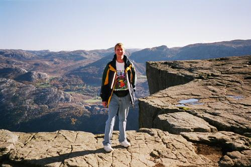 Person wearing Baron t-shirt in Preikestolen,Norway. Activating element opens larger version of image.