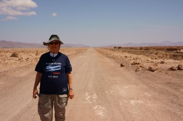 Person wearing Baron t-shirt in San Pedro de Atacama. Activating element opens larger version of image.