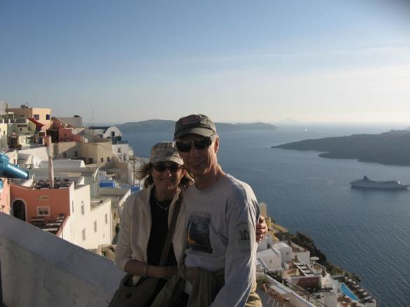 Two people wearing Baron t-shirts in Santorini, Greece. Activating element opens larger version of image.