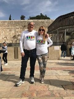 Two people wearing Baron t-shirts in Israel. Activating element opens larger version of image.