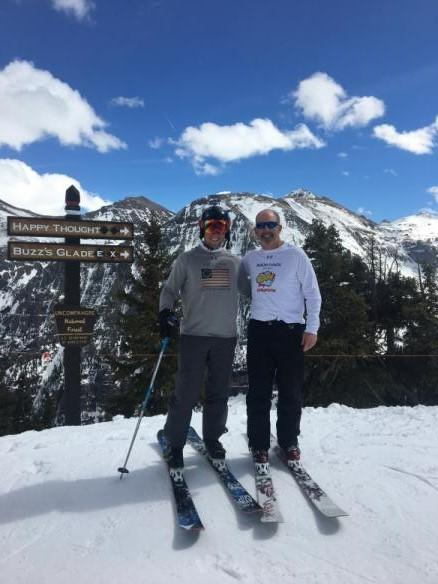 Two people wearing Baron t-shirts in Telluride, Colorado. Activating element opens larger version of image.