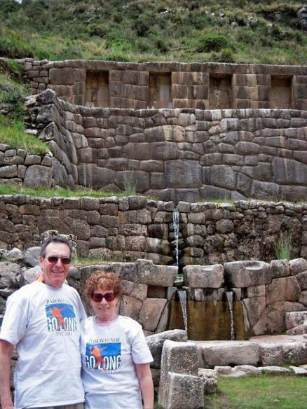 Two people wearing Baron t-shirts in Tambomachay, Peru. Activating element opens larger version of image.