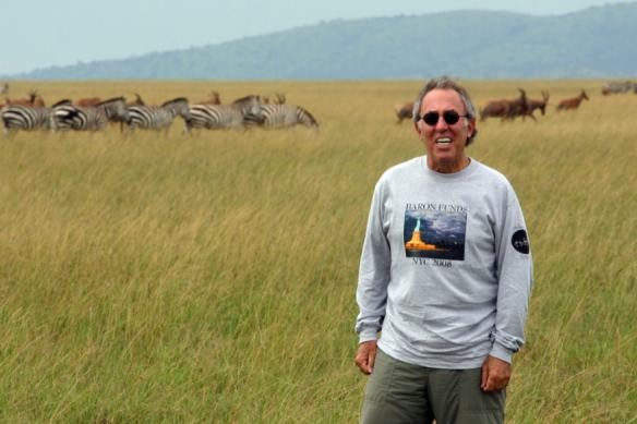 Man wearing Baron t-shirt in Tanzania. Activating element opens larger version of image.