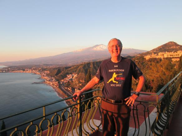 Man wearing Baron t-shirt in Taormina, Sicily. Activating element opens larger version of image.