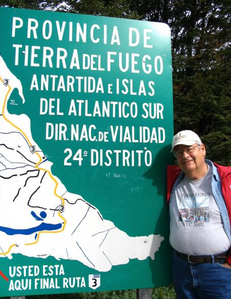 Man wearing Baron t-shirt in Tierra del Fuego National Park, Argentina. Activating element opens larger version of image.