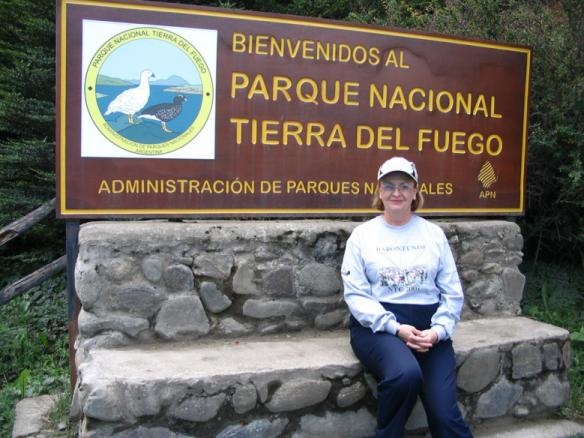 Woman wearing Baron t-shirt in Tierra del Fuego National Park, Argentina. Activating element opens larger version of image.