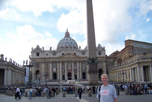 Man wearing Baron t-shirt in Vatican City, Italy. Activating element opens larger version of image.