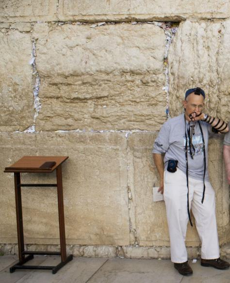 Man wearing Baron t-shirt at the Western Wall, Israel. Activating element opens larger version of image.